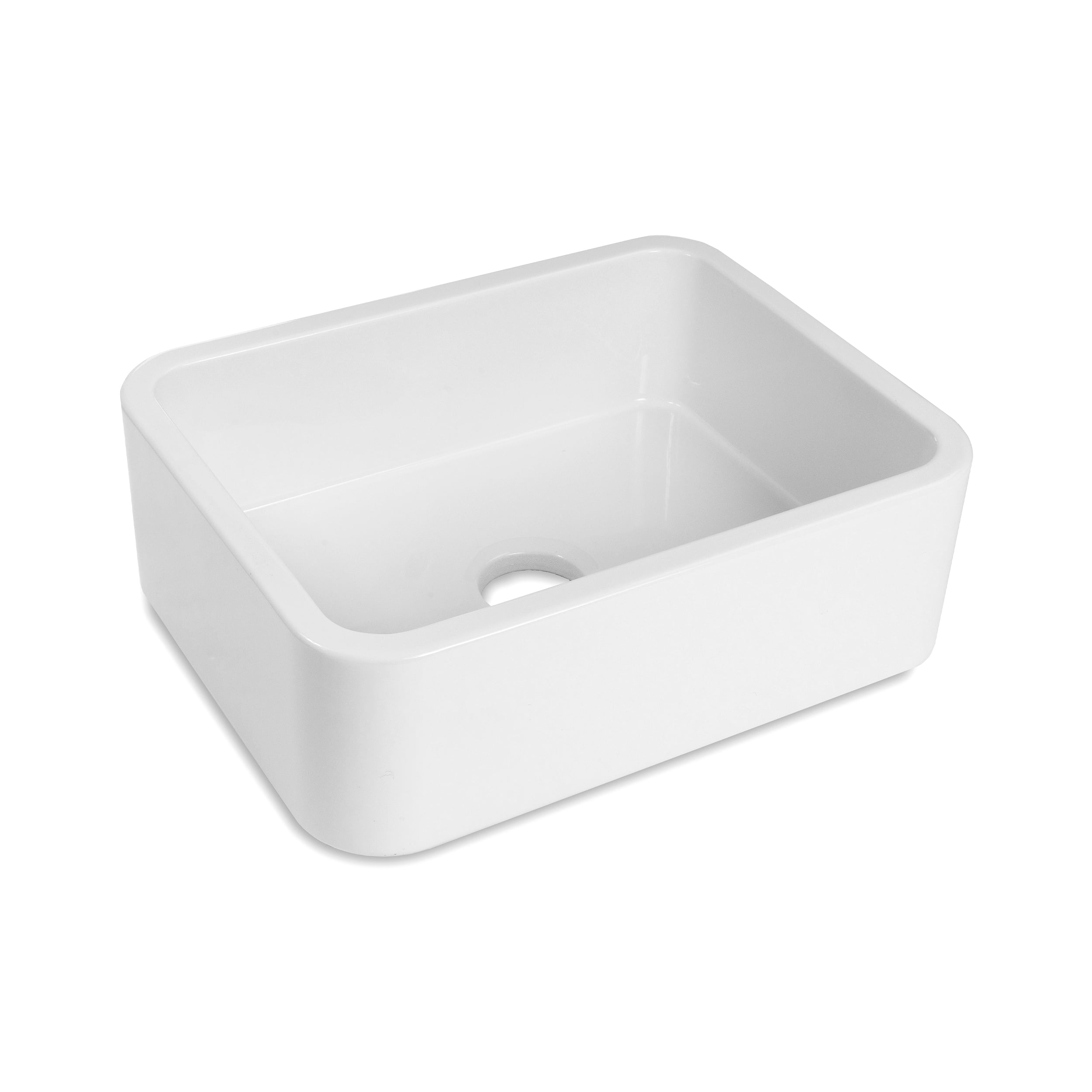 Front of the Barrow, a single bowl sink with rounded edges.